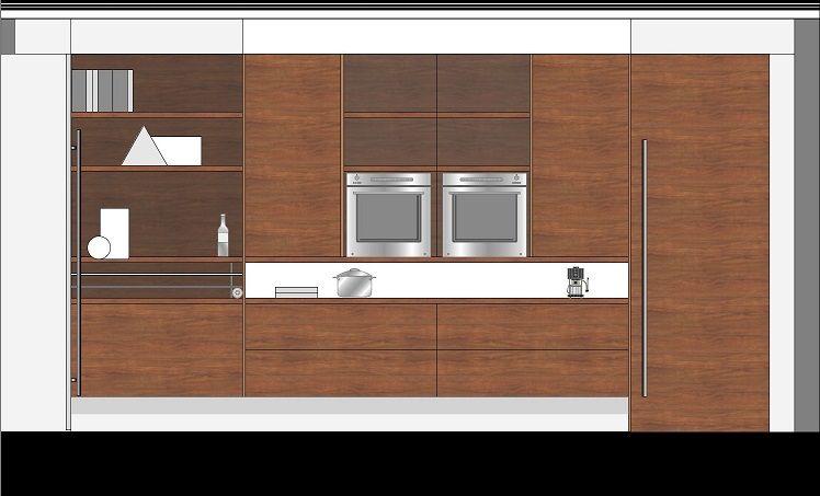 Keukenwand met open kastjes. De keuken is een open woonkeuken met het praktische van een keuken en de stijl en sfeer van de woonkamer.