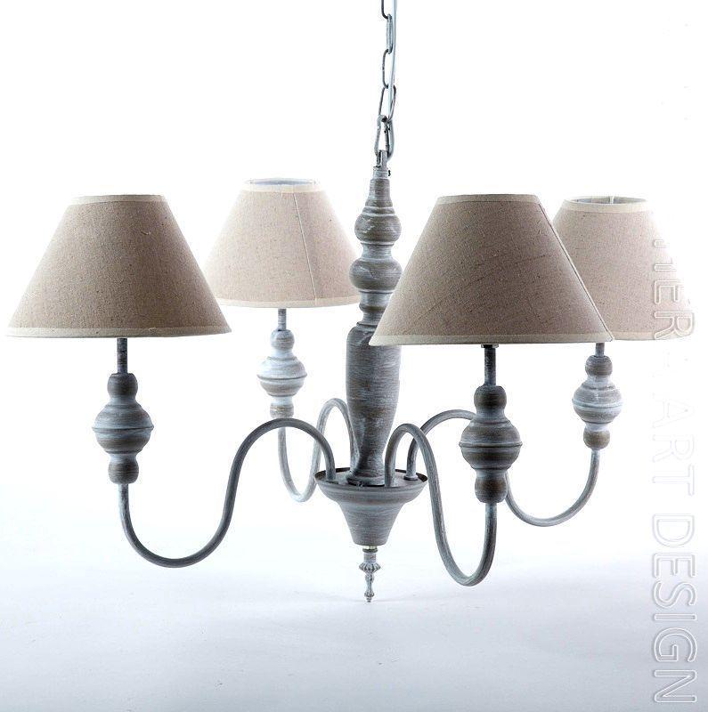 LAMPADARIO da soffitto 5 bracci metallo e legno paralume