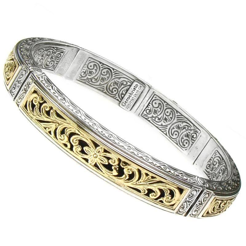 Gerochristo 6289 ~ Solid Gold & Silver Medieval Byzantine Bangle