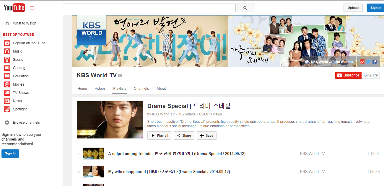 KBS World TV - Youtube channel that has a bunch of drama specials