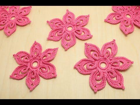 ЦВЕТОК крючком с объемной серединкой Flower for Irish lace - How to crochet flower #irishlacecrochetpattern