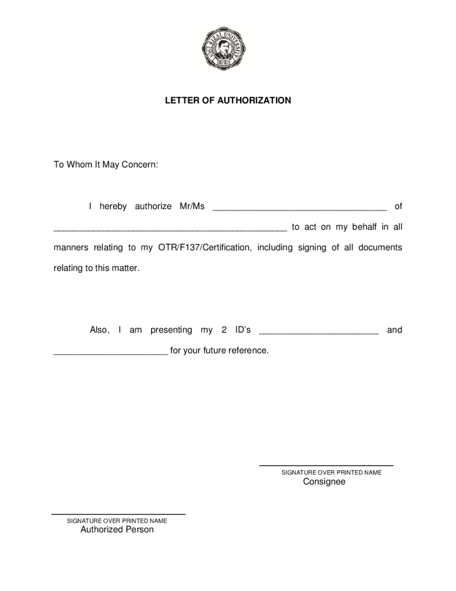 authorization letter sample getting certificate for