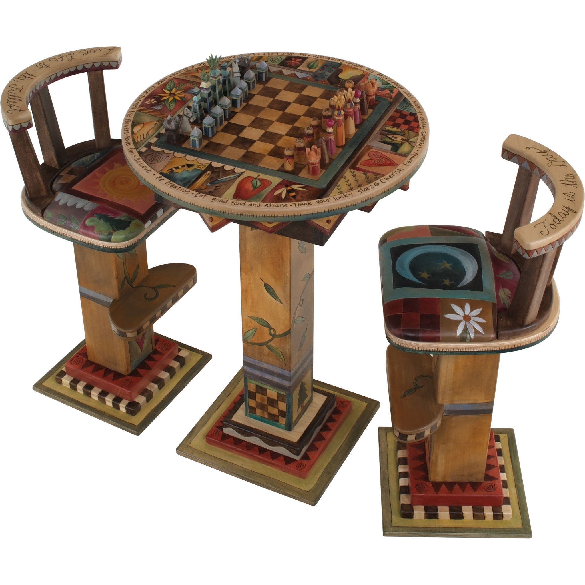 Sticks Fliptop Bar Height Game Table With Two Stools And Standard Chess  Set, GAM040,