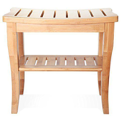 Shower Bench Seat Storage Shelf Wood Bamboo Bathroom Accessories Indoor Outdoor