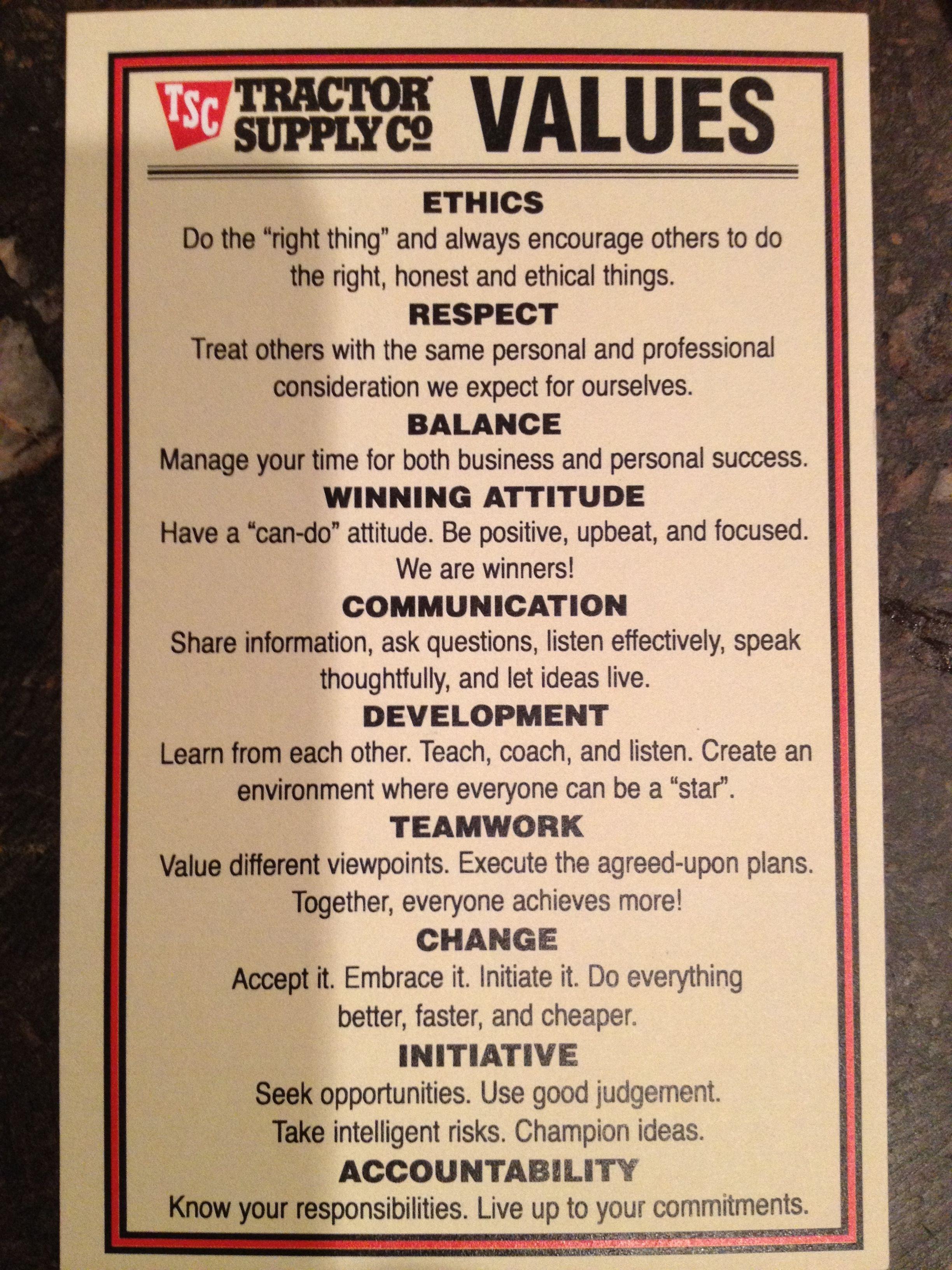 Tractor Supply Core Values Core Values Organizational Leadership Marketing Advice