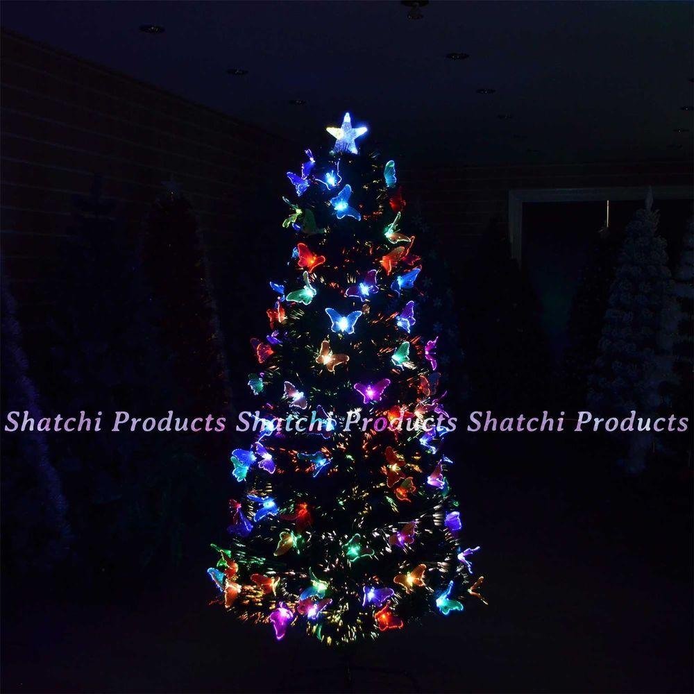 4ft 120cm christmas tree fibre optic pre lit xmas tree butterfly led lights