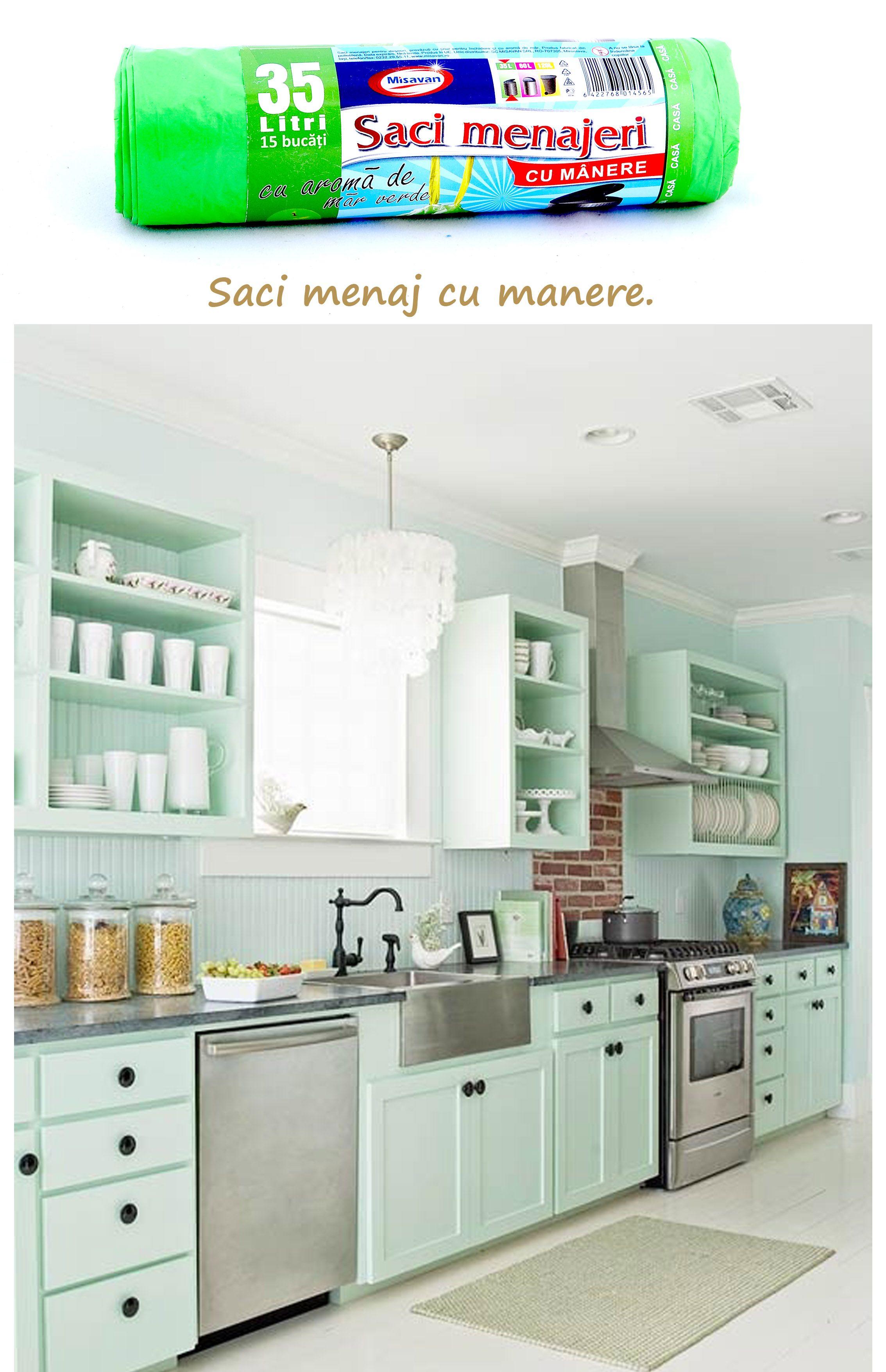 Saci Menaj Cu Manere 35l Http Www Produse Horeca Ro Baie Saci Menaj Cu Manere Mar Verde 3 Cottage Style Kitchen Green Kitchen Cabinets Green Kitchen Designs