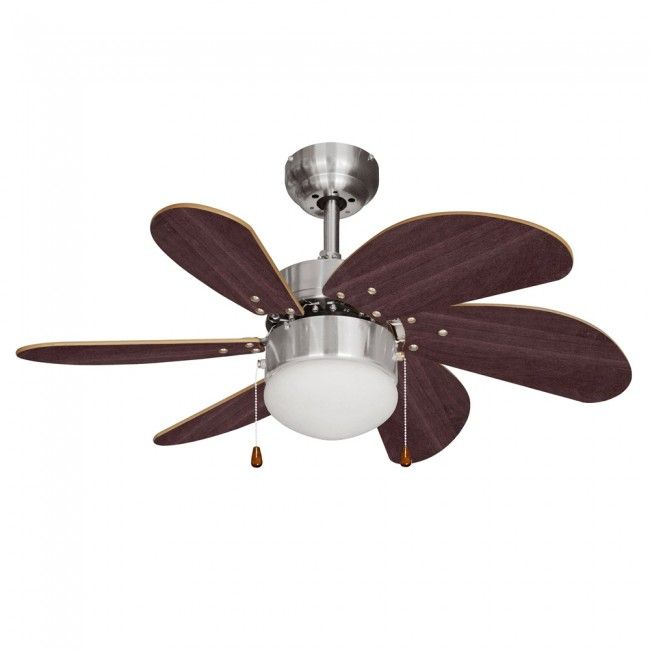 """MiniSun 'Typhoon' Brushed Chrome 30"""" Ceiling Fan with Central Light"""