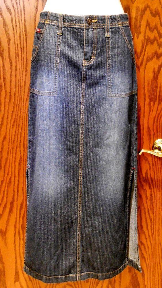 UNIONBAY Long Denim Blue Jean Skirt Modest Side Slits Womens Juniors Size 3