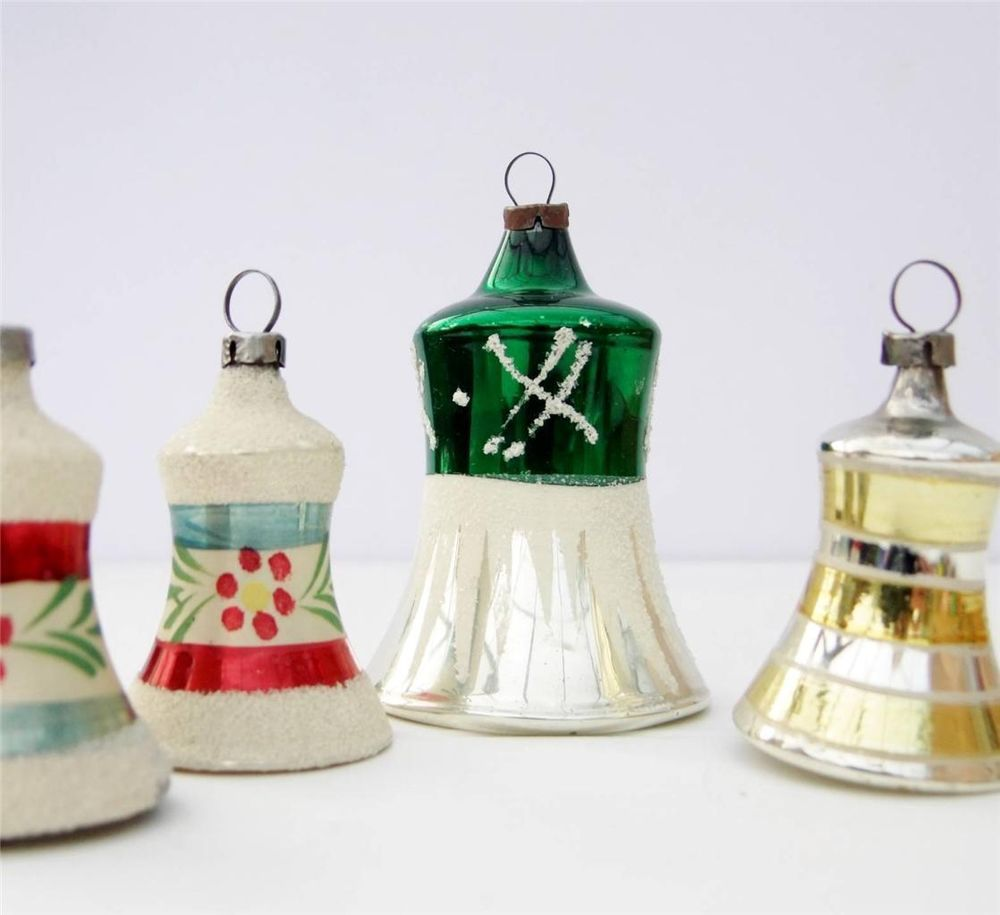 Old Christmas Tree Decorations: Vintage Glass Christmas Tree Bells Baubles Decorations