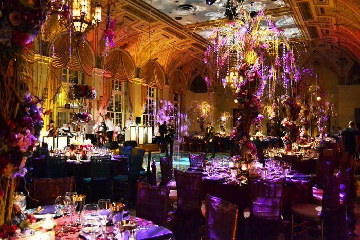 Midsummer Nights Dream Reception Decor In Eggplants Violets Fushsia And Blue Tones