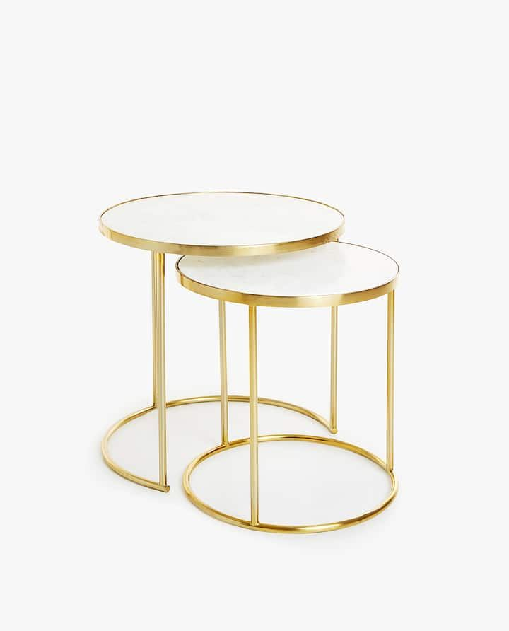 Image Of The Product Marble Nesting Tables With Golden Base Set Of 2 Zara Home Nesting Tables Brass Furniture