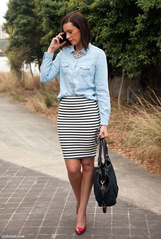 Loving my new #stripe pencil skirt and chambray shirt! For all the ...