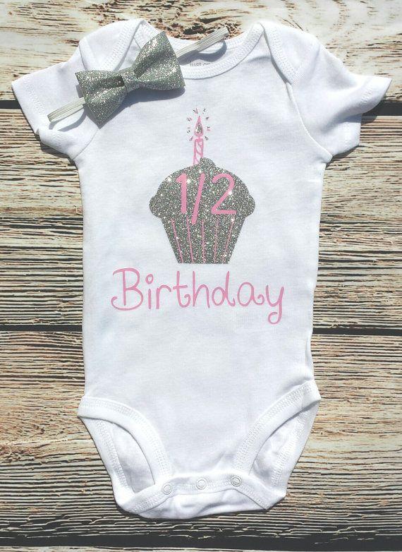 Minnie Mouse Baby Girl Half 6 Months Birthday Onesie Bodysuit Shirt
