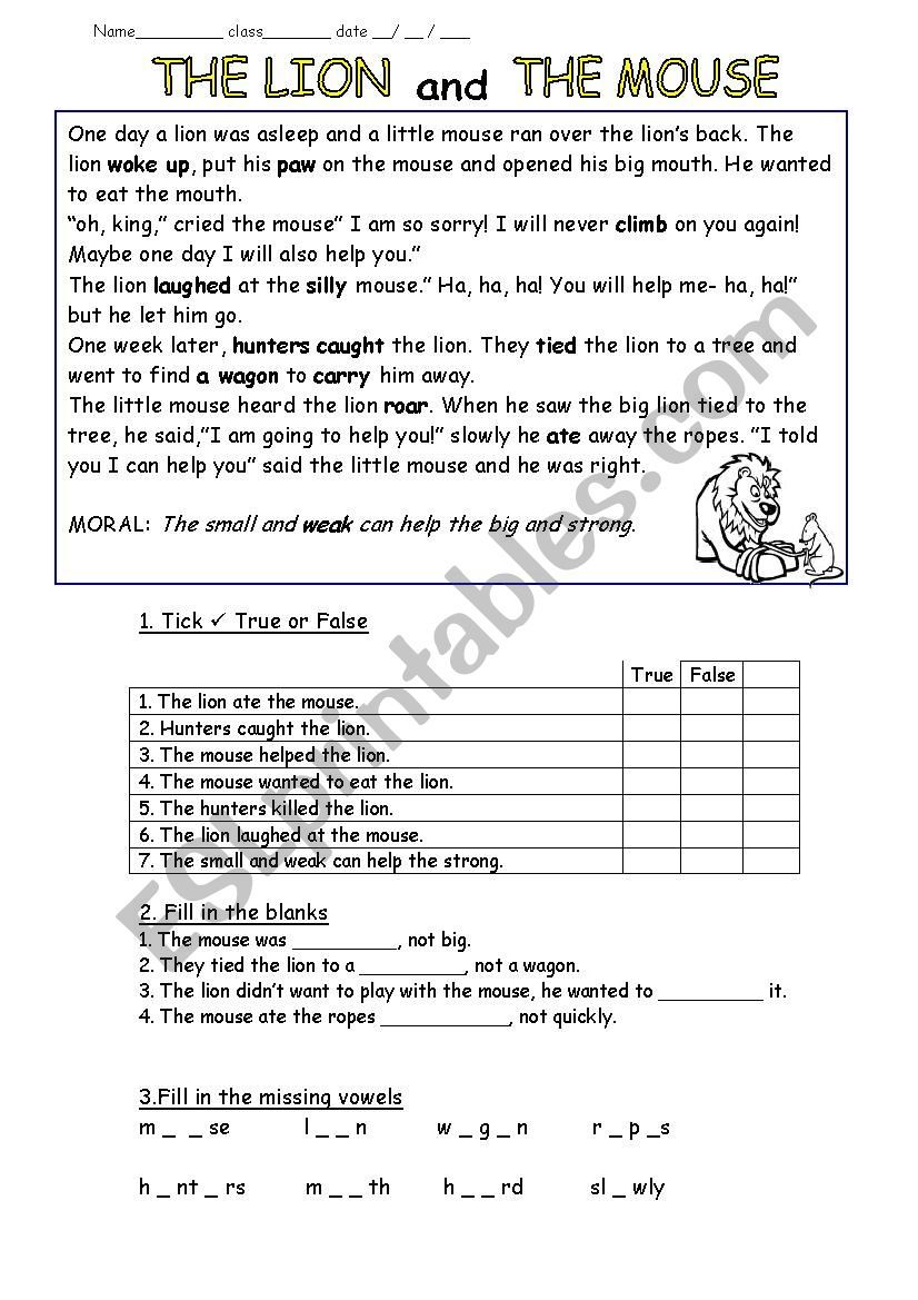 Fable- The lion and the mouse worksheet   Lion and the mouse [ 1169 x 826 Pixel ]