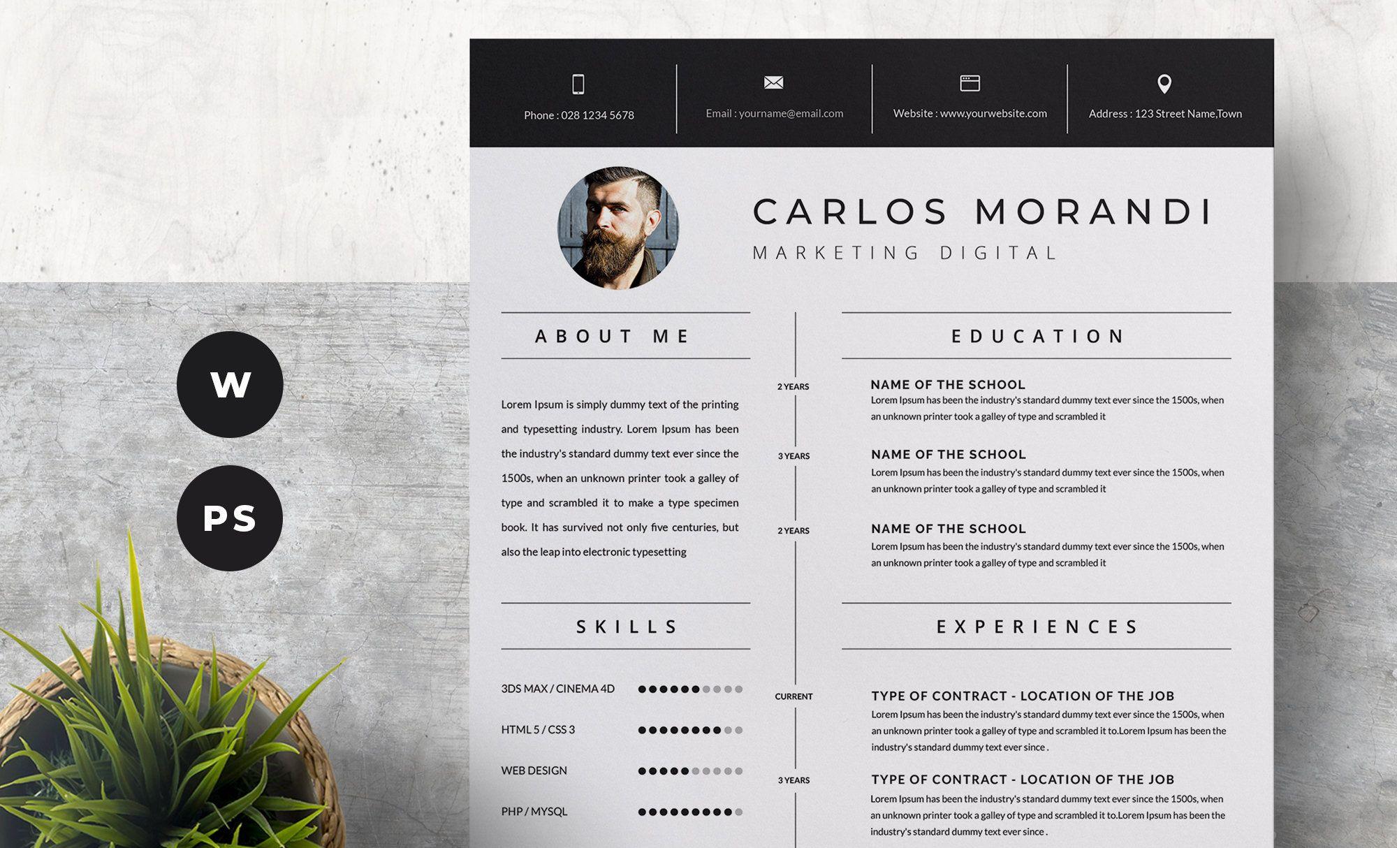 Resume Template, Professional Resume, CV Template, Modern