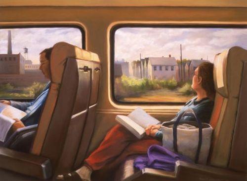 Traveling while reading / Viajando con la lectura (ilustración de Deborah Dewit)
