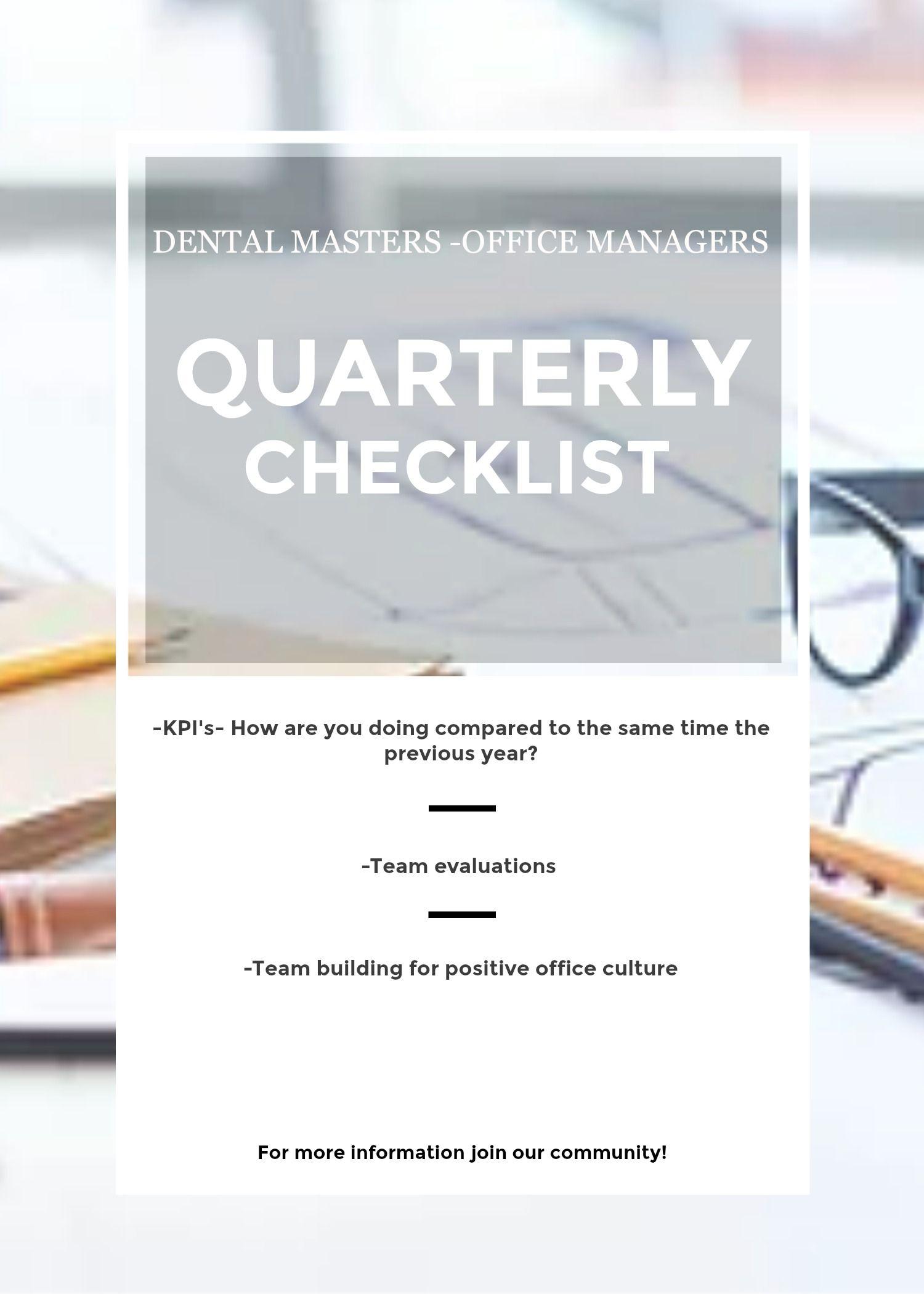 Office manager quarterly checklist dentistry dentalofficemanager office manager quarterly checklist dentistry dentalofficemanager dentist office dpp altavistaventures Choice Image