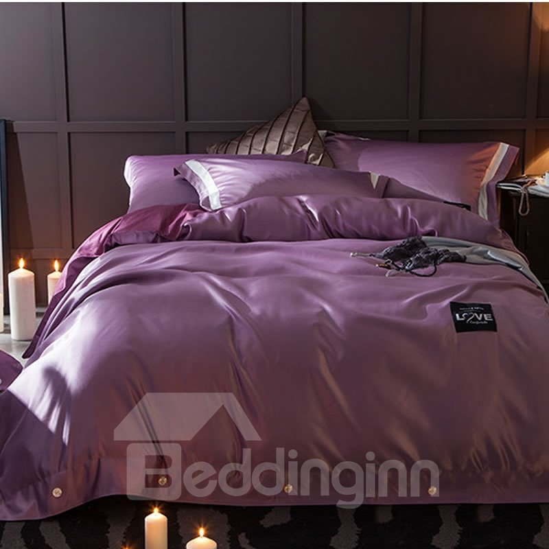 Solid Dark Purple Luxury Style Silky 4 Piece Bedding Sets Duvet Cover Purple Bed Sheets Bed Purple Comforter