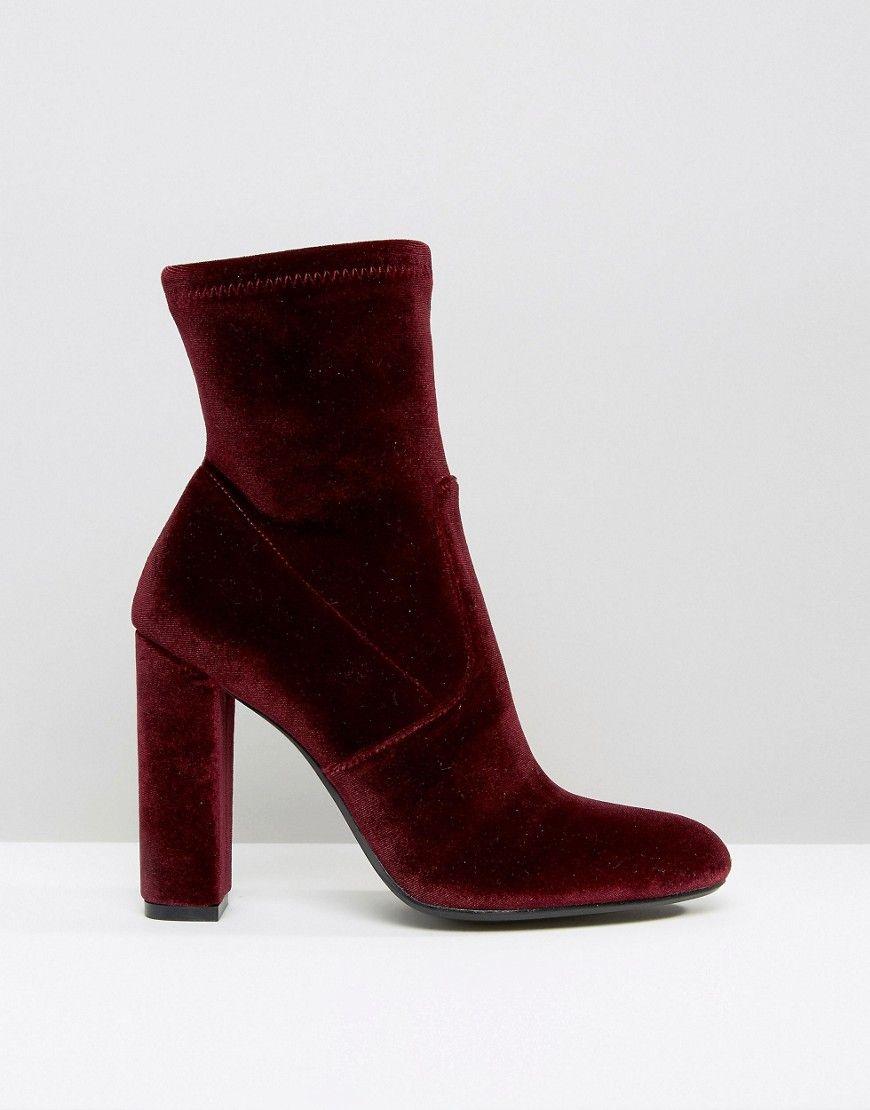 b9906fe846b Steve Madden Editt Velvet Sock Heeled burgundy ankle boots ...