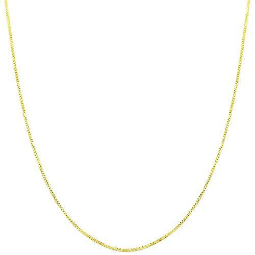 14 Karat Yellow Gold 0.6-mm Venetian Box Chain (18 Inch) Kooljewelry. $78.99. Weighs 1.1 gram(s). Comes with a comfortable spring ring closure. Crafted in yellow gold. Classic box chain makes a simple basic casual necklace. An essential piece by itself or combined with your favorite pendant. Save 67% Off!