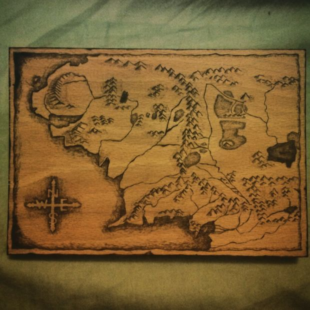 Wood Burning Map of Middle Earth DIY Glass Etching