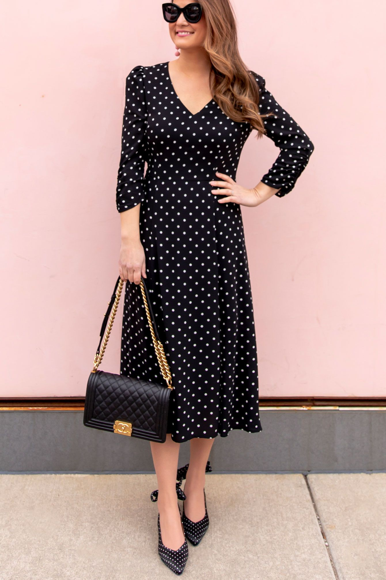 Styling A Long Sleeve Polka Dot Midi Dress Style Charade Dresses Skirt Outfits Fall Gorgeous Dresses [ 2011 x 1340 Pixel ]