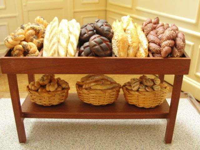 $149.00  Ultimate Bread Counter Display -Artist Signed in Dolls & Bears, Dollhouse Miniatures, Artist Offerings   eBay