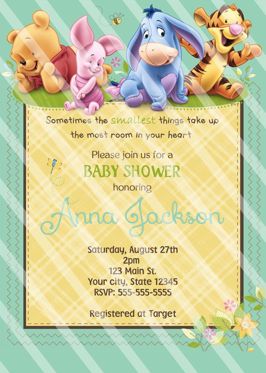 Winnie Pooh Baby Shower Invitations | Shower invitations, Baby ...