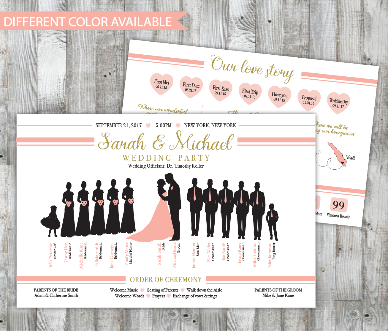 Wedding Infographic Program With Bridal Party Silhouette Fun