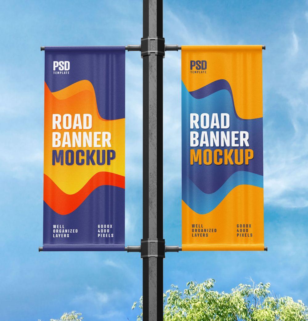 Street Pole Banner Mockup Set In 2021 Pole Banners Banner Banner Design