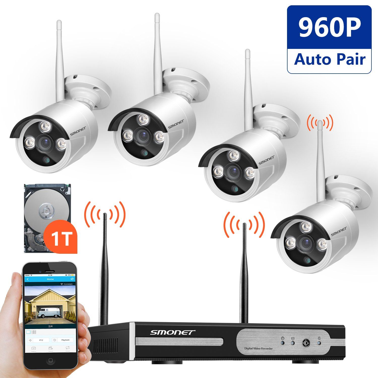 Wireless Video Security System,SMONET 4CH 1080P Wireless Security ...
