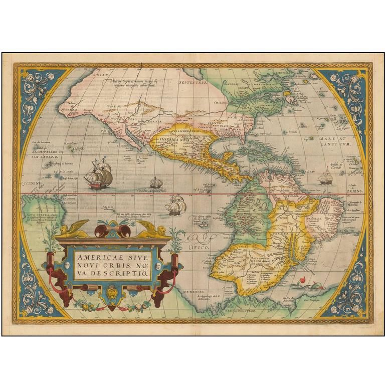 1573 Hand Colored Ortelius Map of the Americas