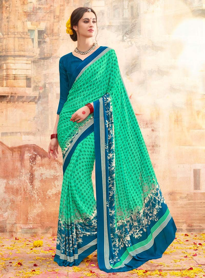 ce34e2d8b2 Sea Green Crepe Casual Wear Saree 84518 | Printed Sarees | Saree ...