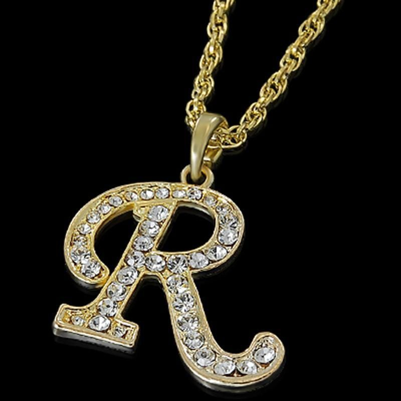 ALPHABET INITIAL LETTER R GOLD PLATED CLEAR CRYSTAL