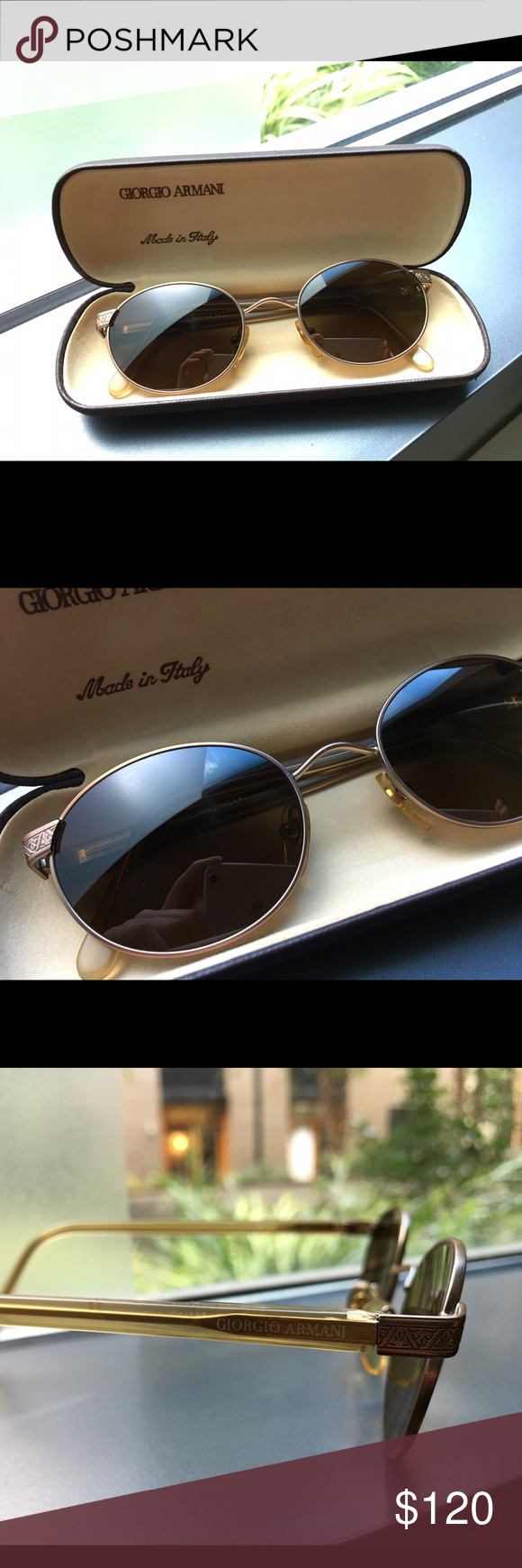494532c705 Vintage 90s Giorgio Armani Sunglasses Vintage men s sunglasses from the  90s. Nice details on the sides. In good condition. Exterior of the case is  damaged ...