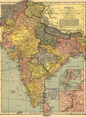 1902 Map India Then A Colony Canvas Print Canvas Art by