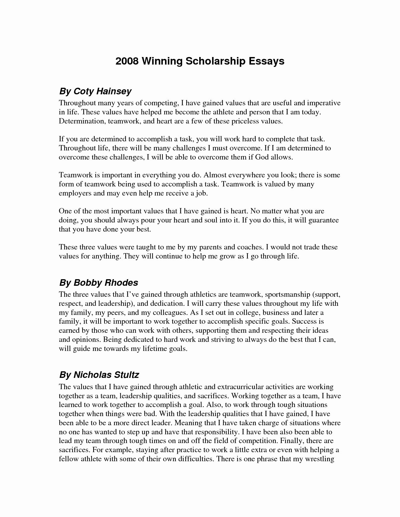 Sample Essay For Scholarship New 48 Winning College Example 11 Examples Determination