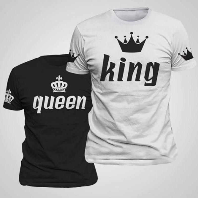 5d808d08c3 2017 Valentine Shirts Woman Cotton King Queen Funny Letter Print Couples  Leisure T-shirt Man