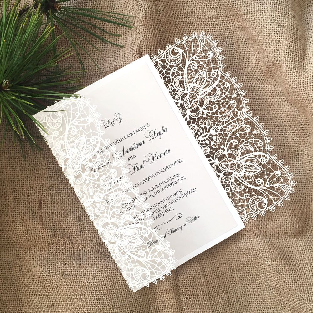 Laser Cut Wedding Invitation Bohemian Lace Gatefold A9