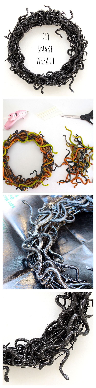 DIY snake wreath for Halloween!