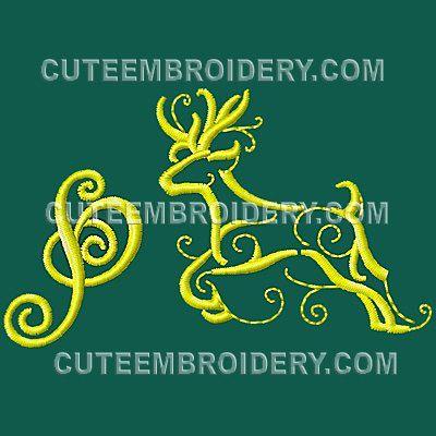 free embroidery design golden deer font letter p
