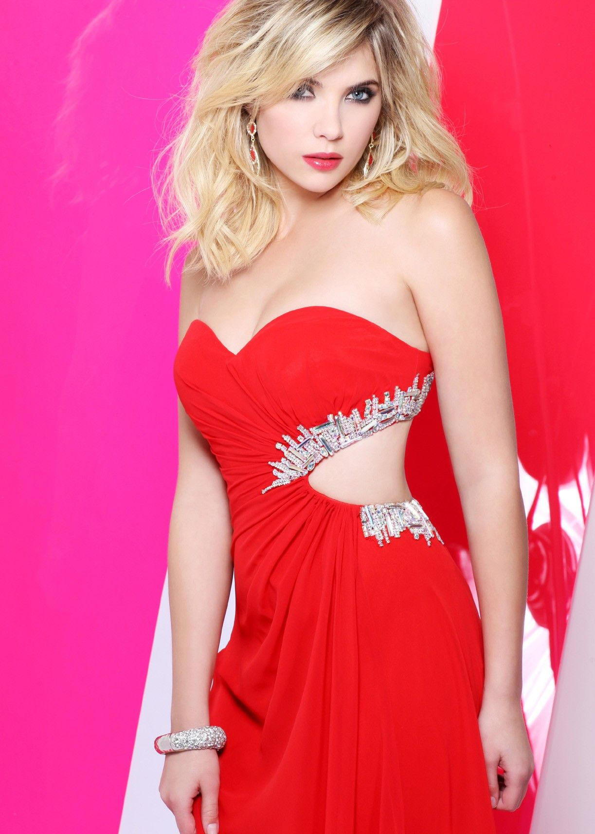 Ashley Benson wearing Faviana 7122! – Pink Strapless Prom Dress ...