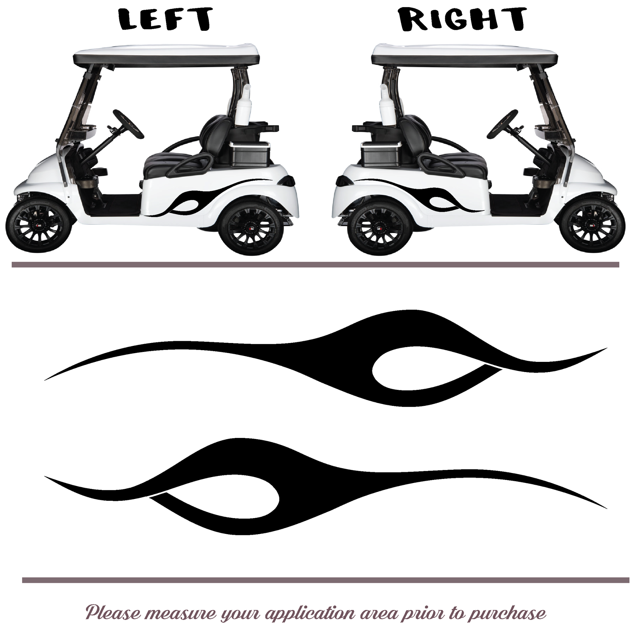 Golf Cart Vinyl Graphic Decals Set of 2 TWO STYLE F086