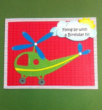 Blue Helicopter Personalised Childrens Birthday Card