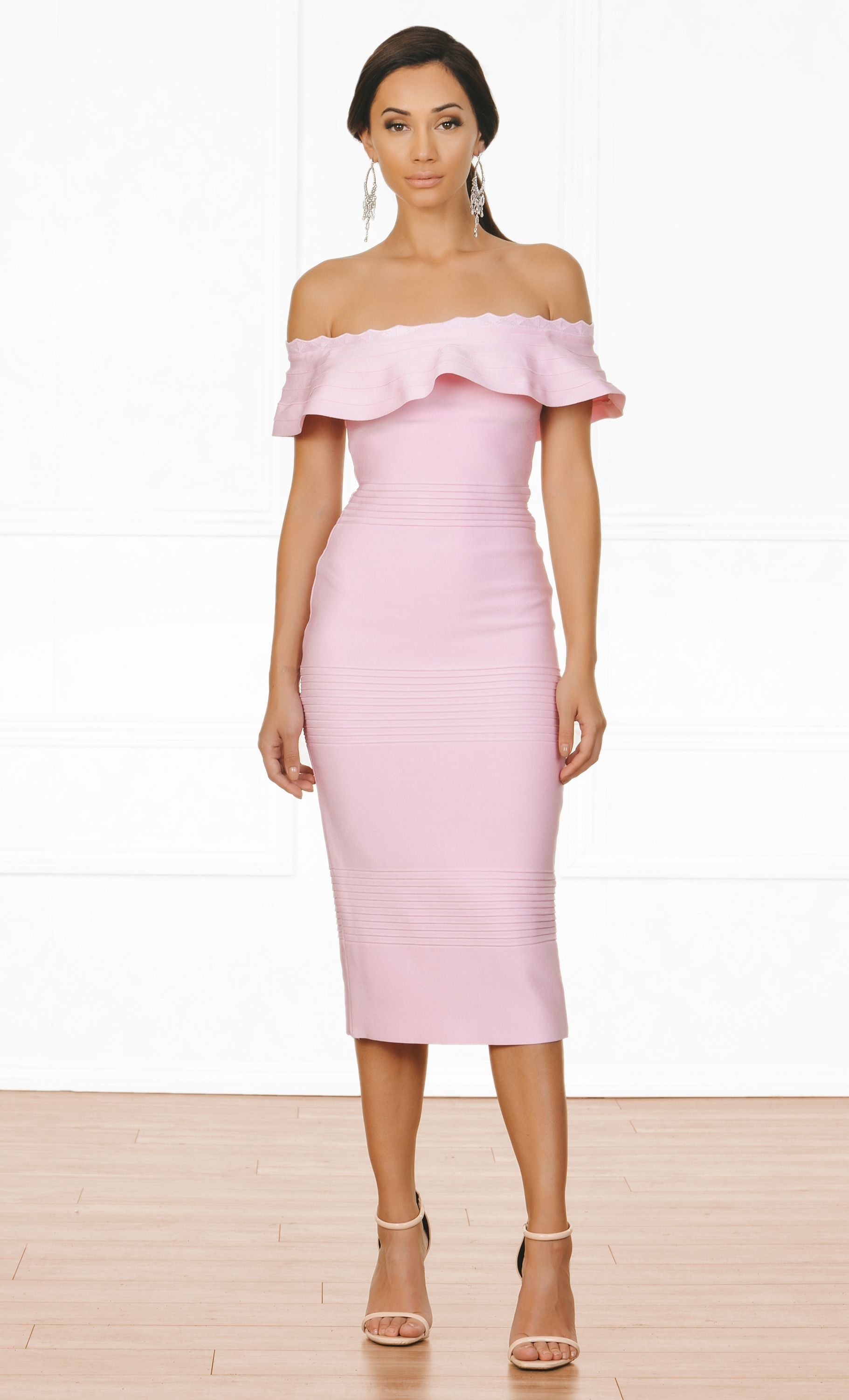 Modern icon pink off the shoulder fold over ruffle bodycon bandage