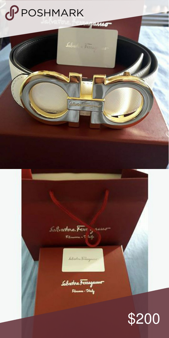White and gold ferragamo belt with box NWT | Ferragamo ...