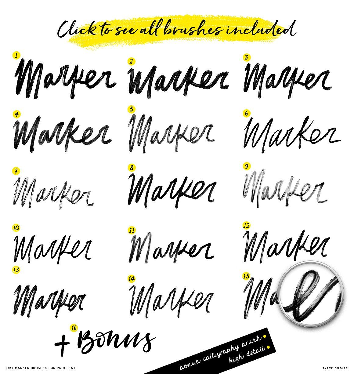 Dry Marker Brushes For Procreate Create Quotes Markers Brush Font