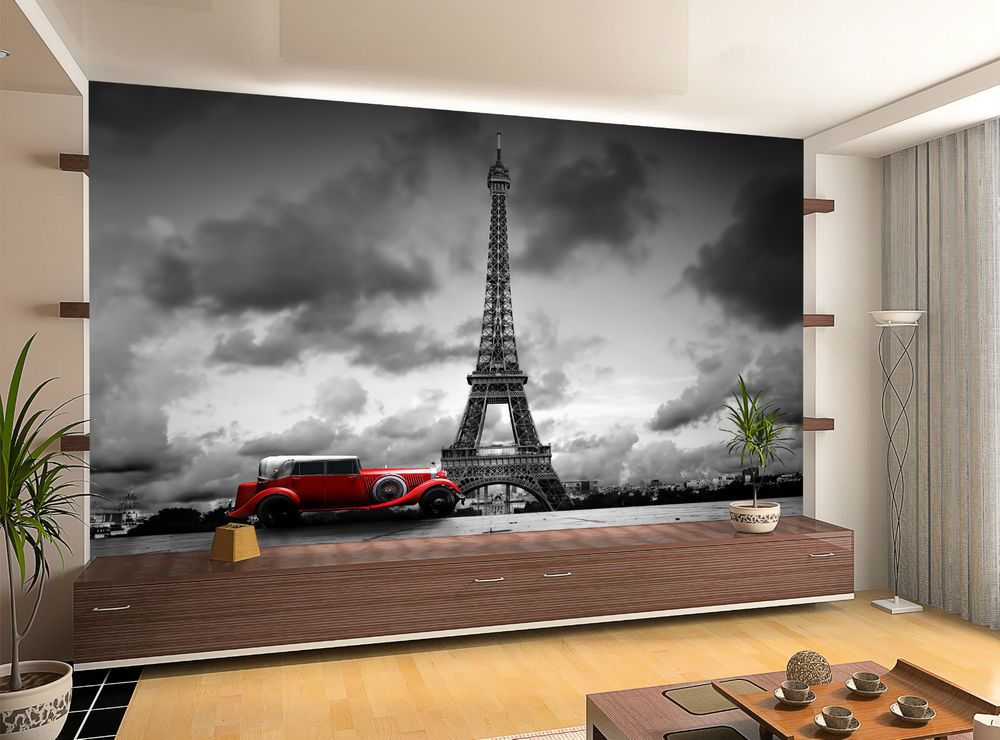 France Paris Eiffel Tower Retro Car Wall Mural Photo Wallpaper GIANT