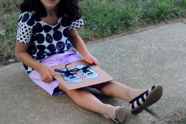 DIY Shoe-Tying Board: Video - http://www.pbs.org/parents ...